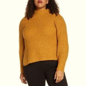 Leith Orange Inca Knit Sweater Mock Neck Pullover